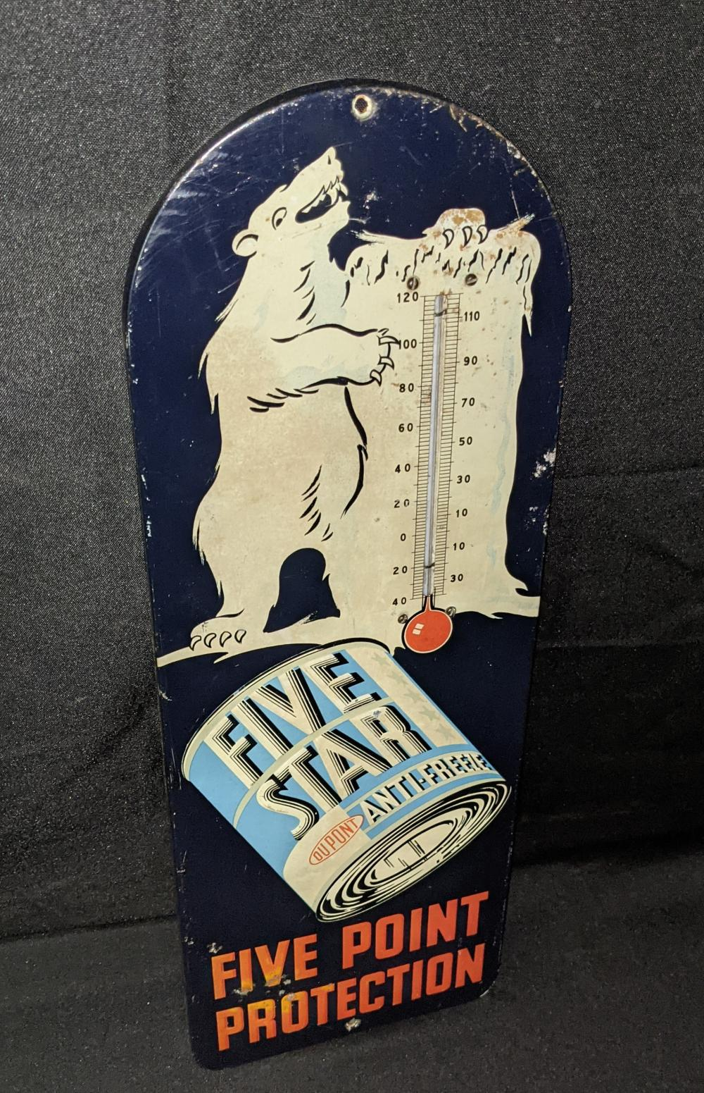EMBOSSED TIN THERMOMETER SIGN DUPONT 5 STAR ANTI F