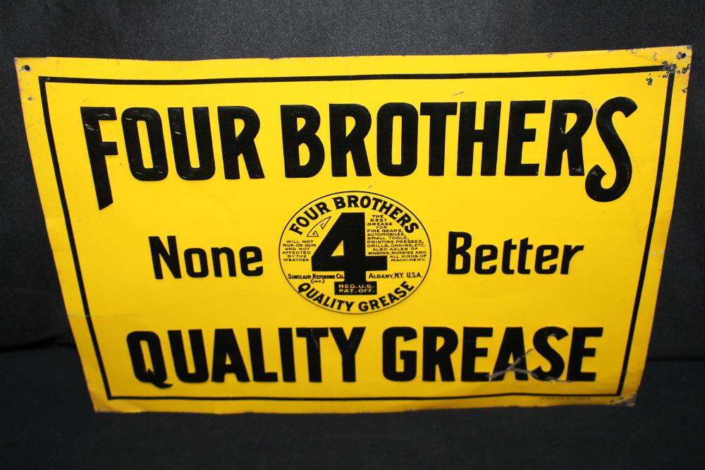 SINCLAIR REFINING CO 4 BROTHERS GREASE TIN SIGN