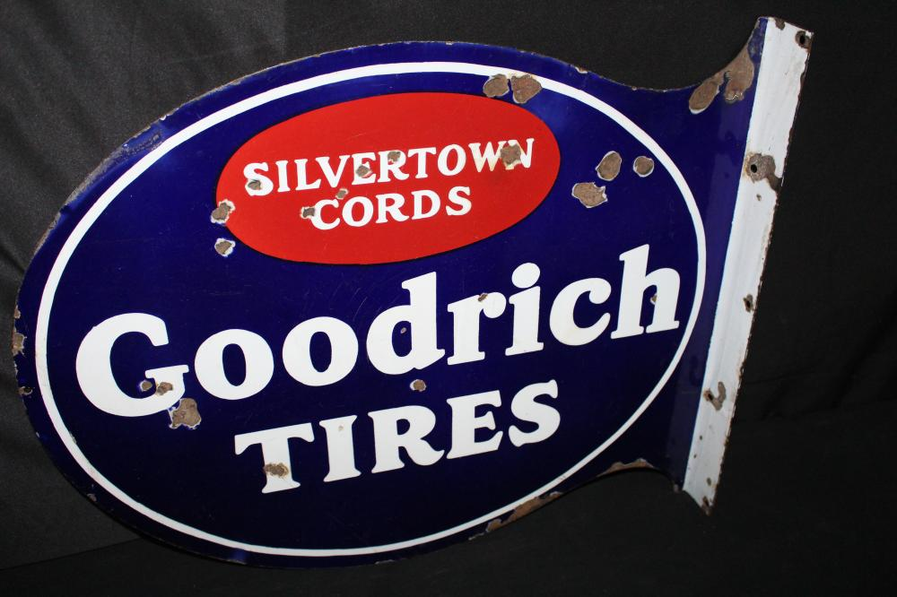 PORCELAIN GOODRICH SILVERTOWN CORD TIRES SIGN
