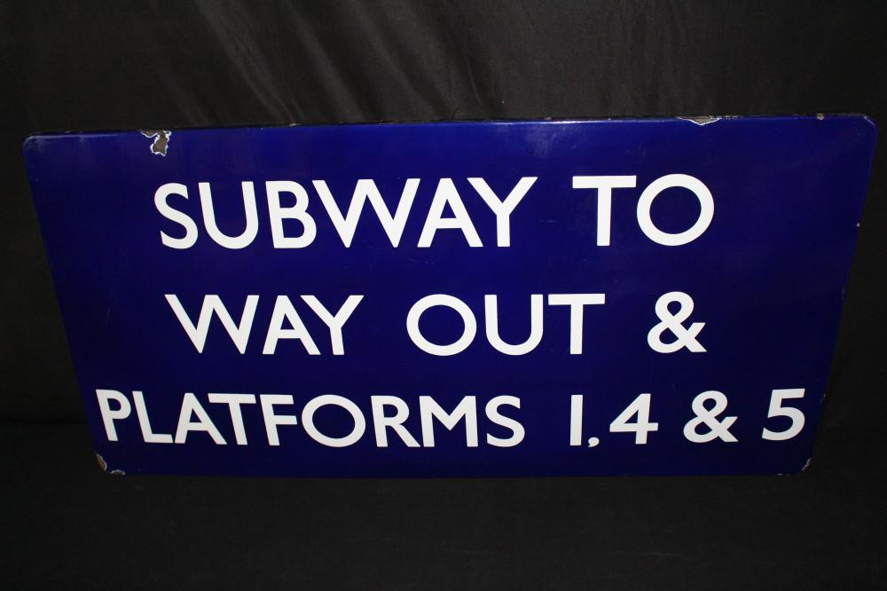 PORCELAIN SUBWAY EXIT TO WAY OUT SIGN