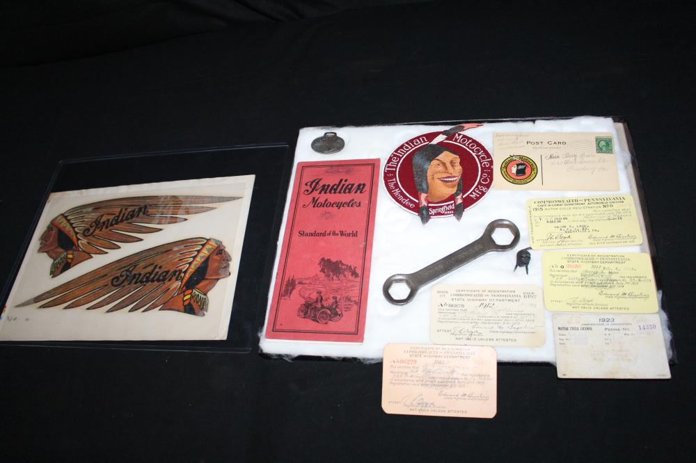 LOT OF INDIAN & HARLEY DAVIDSON MOTORCYCLE ITEMS