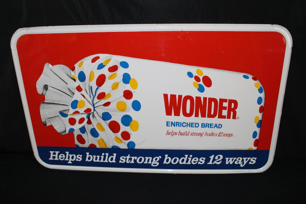 LARGE WONDER BREAD TIN COUNTRY STORE SIGN