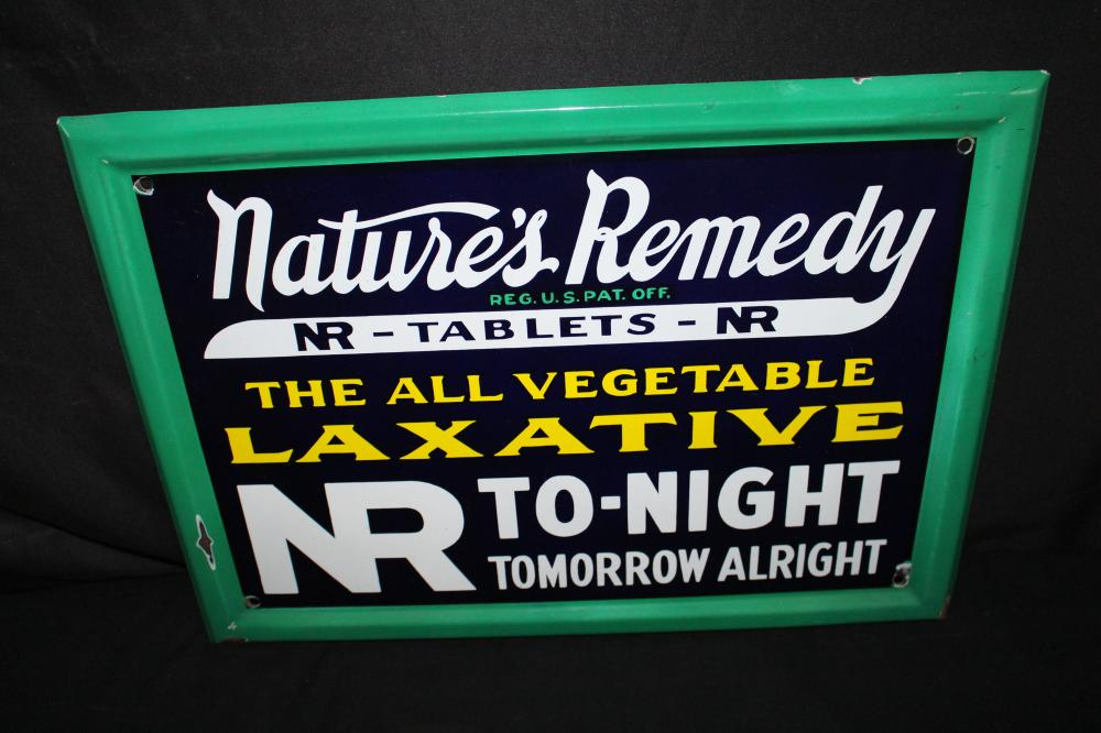 PORCELAIN NATURES REMEDY LAXATIVE SIGN