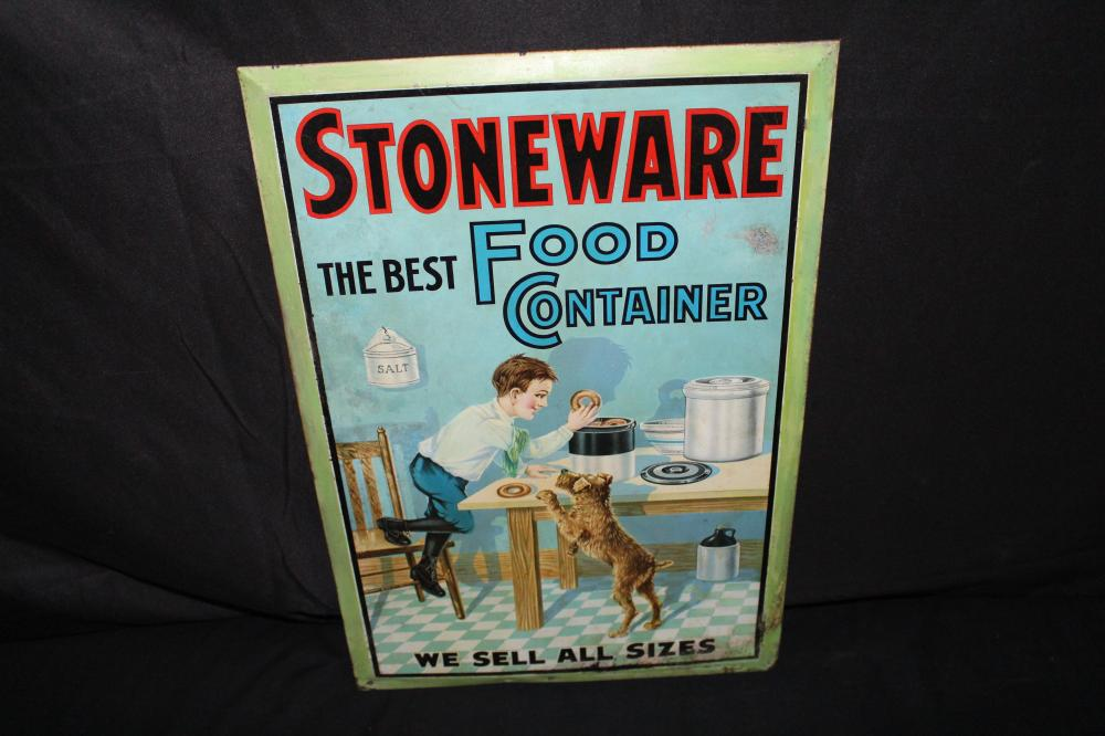 STONEWARE THE BEST FOOD CONTAINER TIN LITHO SIGN