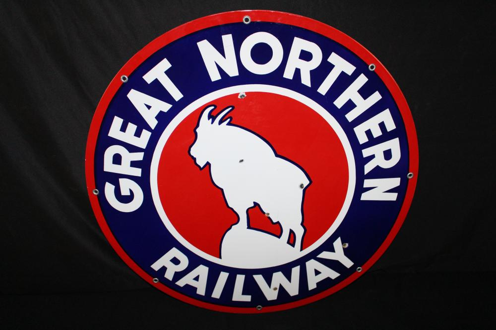 PORCELAIN GREAT NORTHERN RAILWAY RAILROAD SIGN