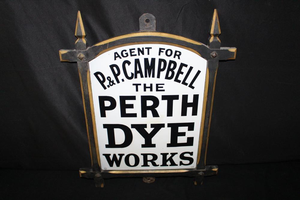 PORCELAIN P&P CAMPBELL PERTH DYE WORKS SIGN