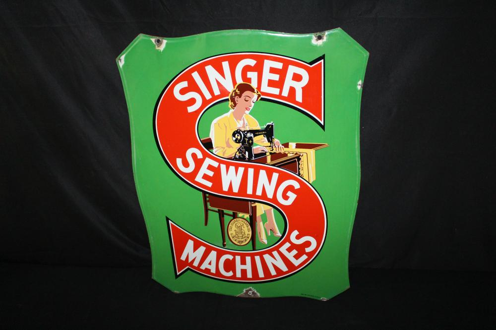 PORCELAIN SINGER SEWING MACHINES SIGN 2 SIDED