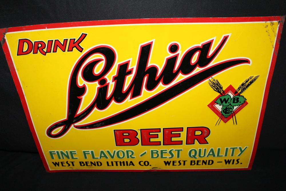 DRINK WEST BEND LITHIA BEER TIN SIGN WISCONSIN
