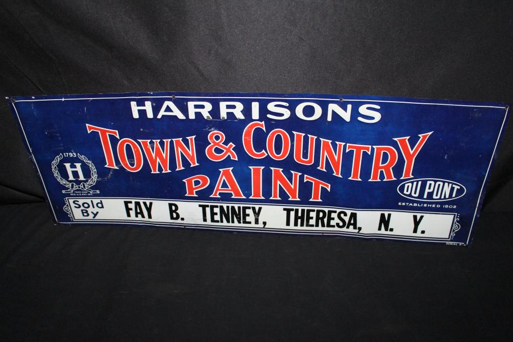 DUPONT HARRISONS TOWN & COUNTRY PAINT TIN SIGN