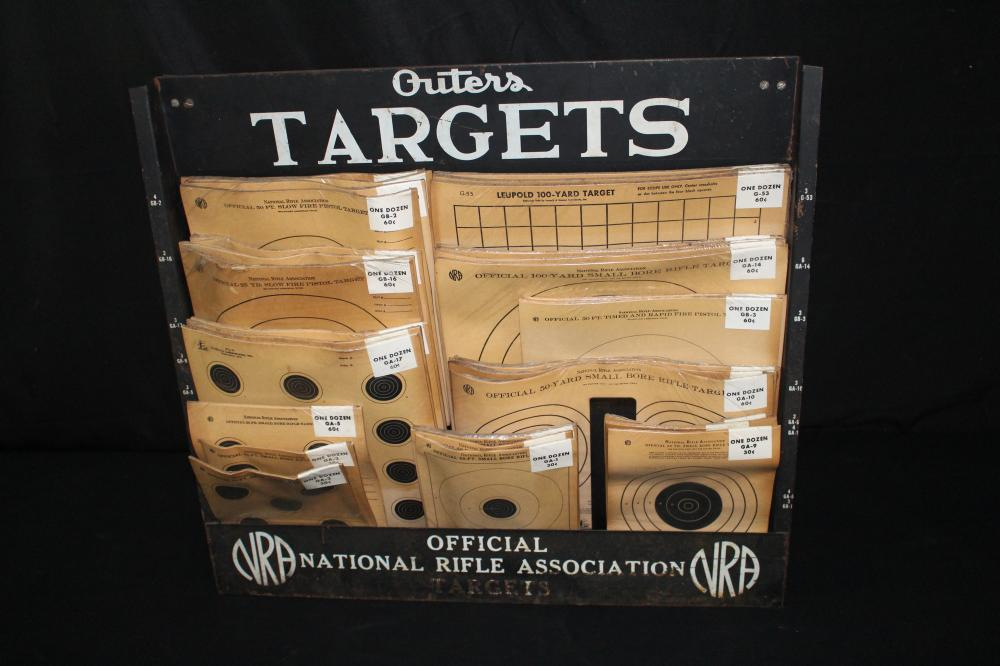 NRA OUTERS RIFLE TARGET STORE DISPLAY RACK SIGN