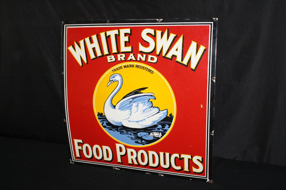 PORCELAIN WHITE SWAN FOOD PRODUCTS SIGN