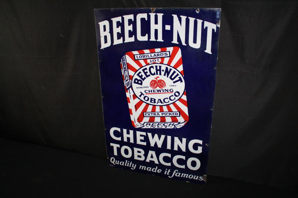 PORCELAIN BEECH NUT CHEWING TOBACCO SIGN