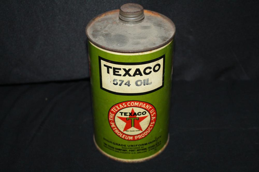 ONE QUART TEXACO 574 MOTOR OIL CAN SIGN