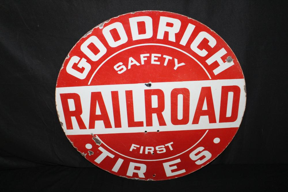 PORCELAIN GOODRICH TIRES RAILROAD CROSSING SIGN