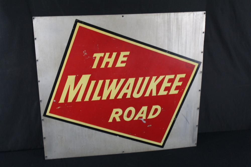 THE MILWAUKEE ROAD RAILROAD RAILWAY SIGN