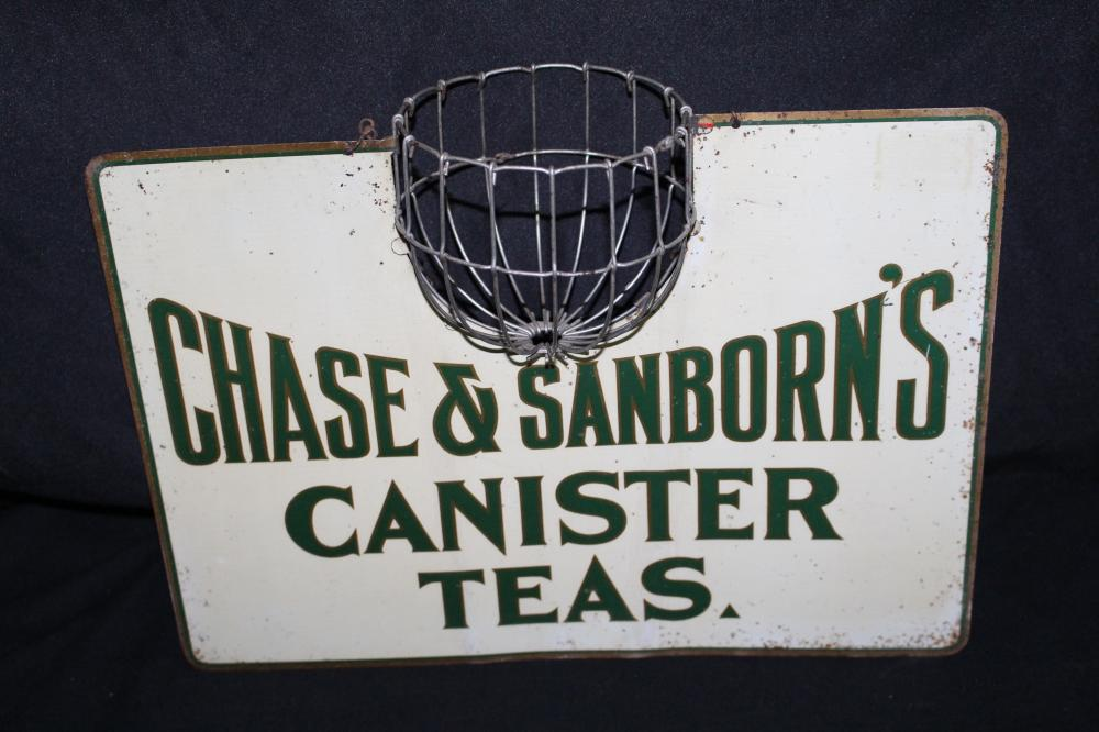 RARE CHASE & SANBORN COFFEE TEA STRING HOLDER SIGN