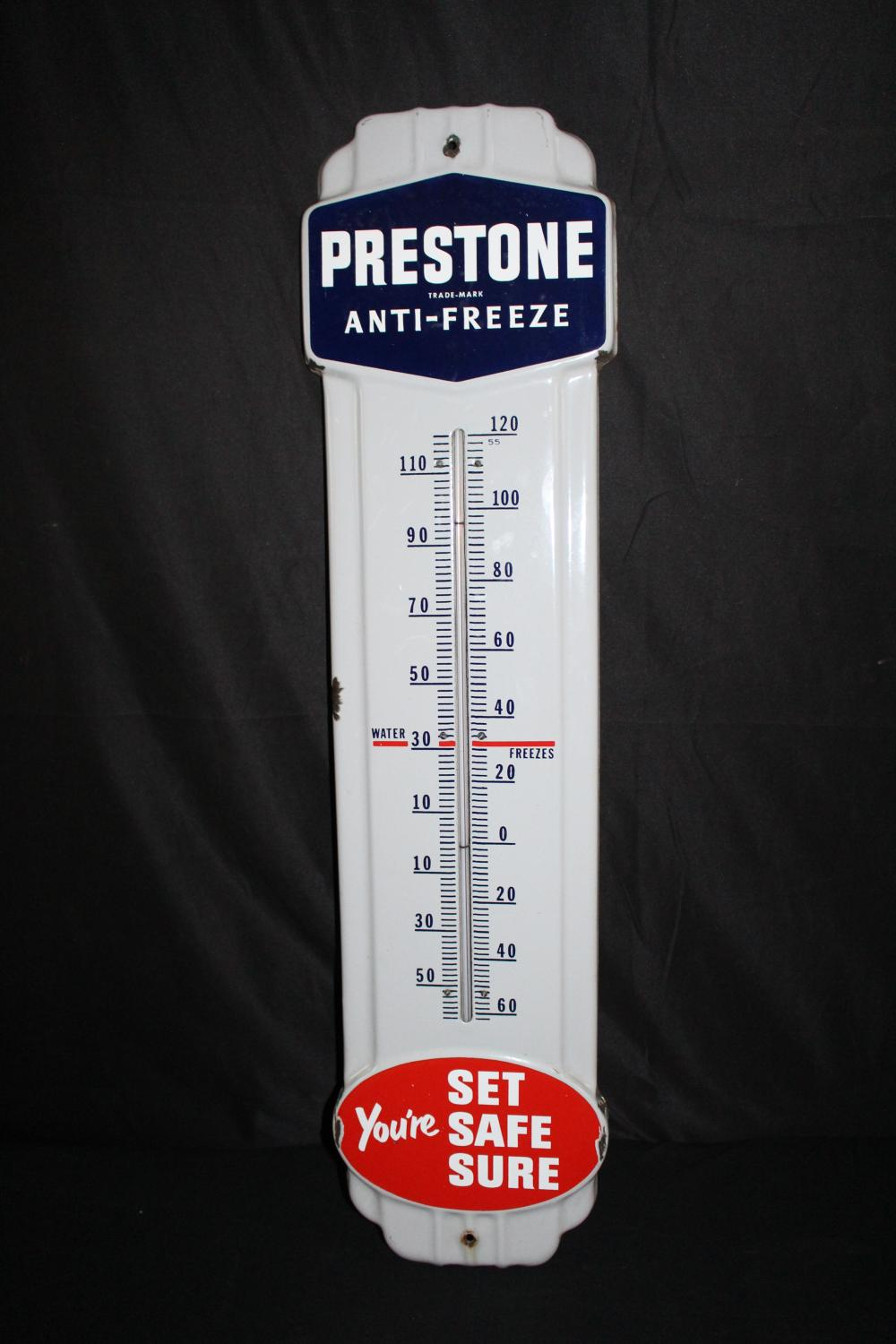 PORCELAIN PRESTONE ANTIFREEZE THERMOMETER SIGN