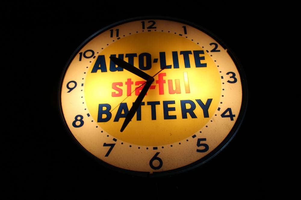 AUTOLITE STA FUL BATTERY CLOCK SIGN