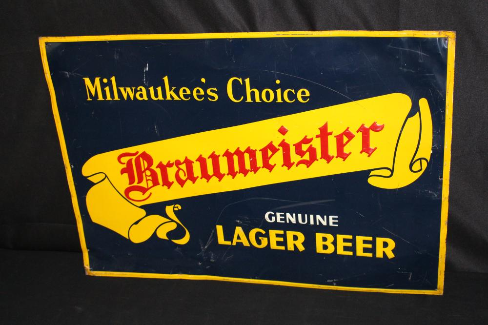 MILWAUKEES CHOICE BRAUMEISTER LAGER BEER TIN SIGN