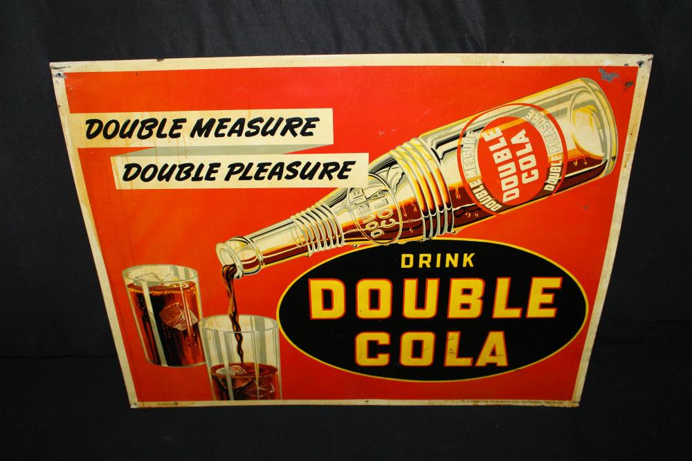 DRINK DOUBLE COLA SODA POP TIN SIGN