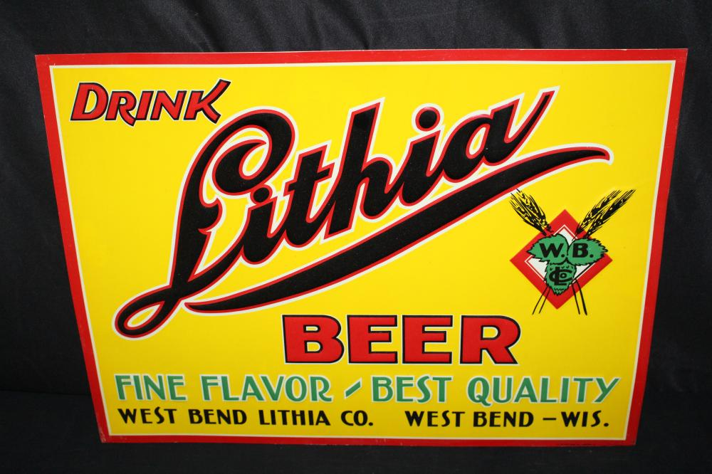 NOS WEST BEND LITHIA BEER TIN SIGN WISCONSIN