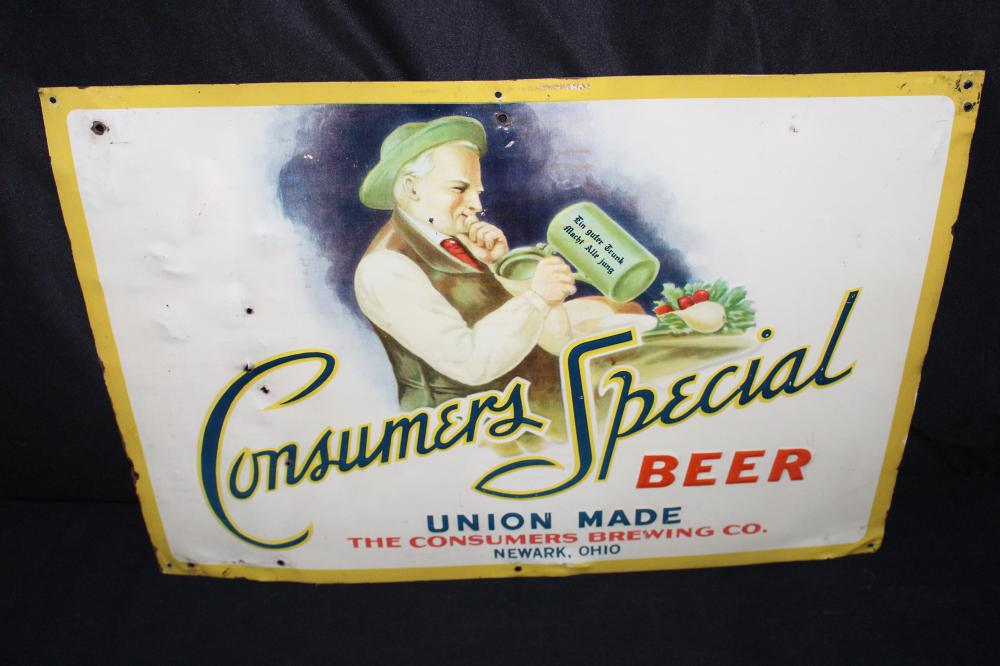 CONSUMERS SPECIAL BEER NEWARK OHIO TIN SIGN