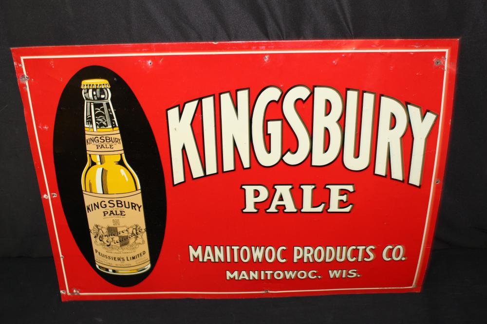 KINGSBURY BEER MANITOWOC WISCONSIN TIN SIGN