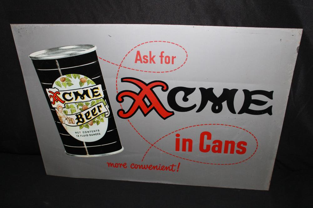 ACME BEER IN CANS TIN SIGN