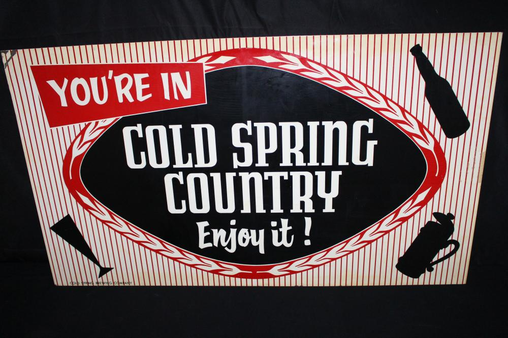 NOS COLD SPRING MINNESOTA TIN BEER SIGN 2 SIDED