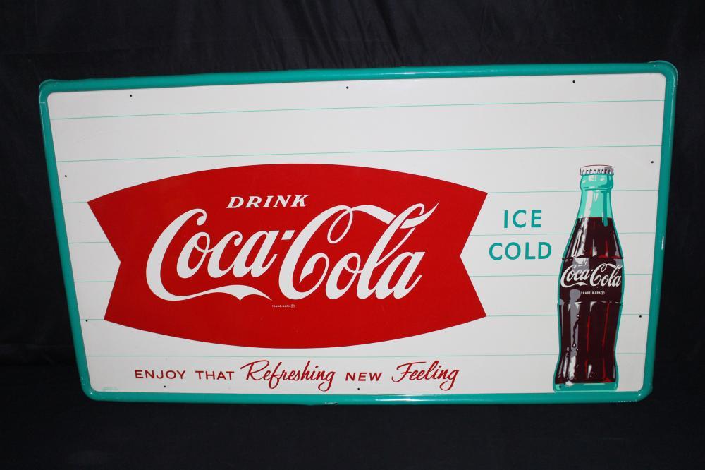 NOS DRINK ICE COLD COCA COLA FISHTAIL SODA SIGN