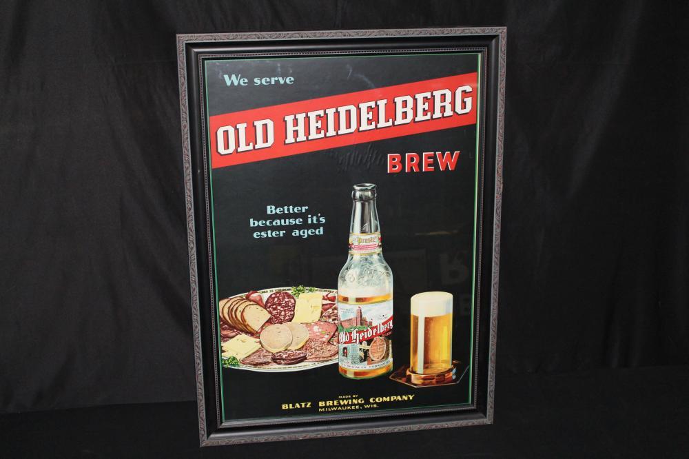 1926 BLATZ OLD HEIDELBERG BEER LITHO SIGN