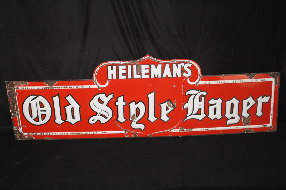 PORCELAIN HEILEMANS OLD STYLE LAGER BEER SIGN