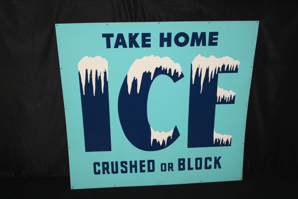 NOS TAKE HOME ICE CRUSHED OR BLOCK TIN SIGN