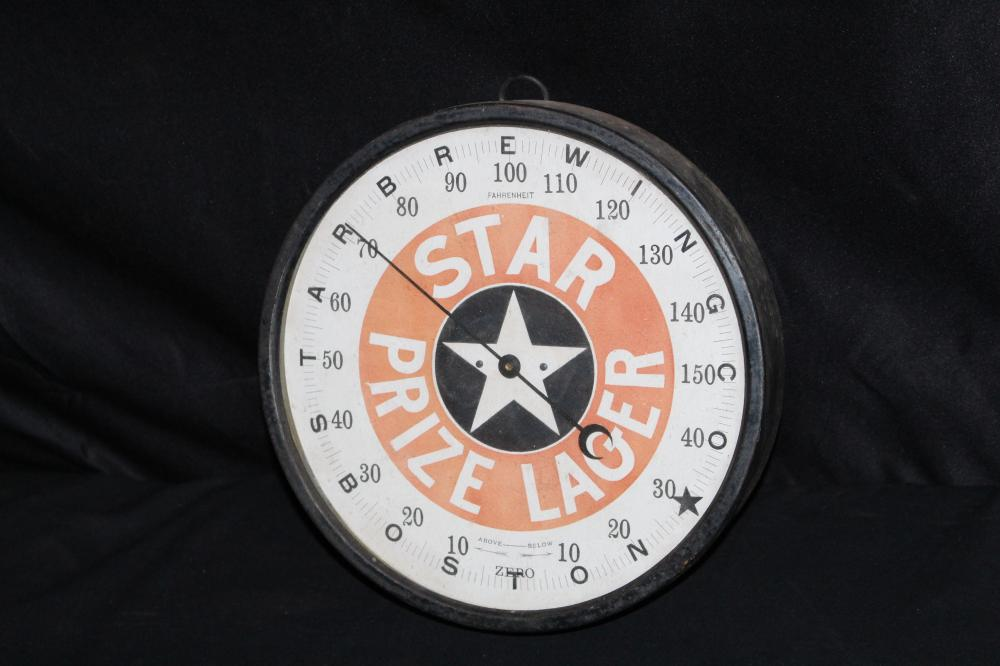 STAR BREWING BOSTON PRIZE LAGER BEER THERMOMETER