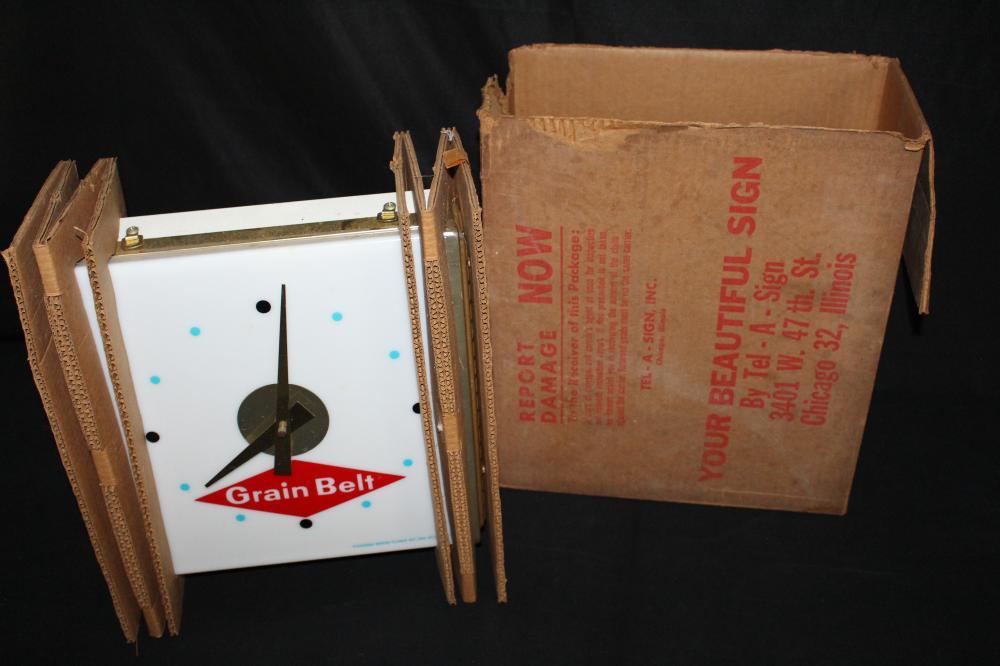 NOS GRAIN BELT BEER CLOCK SIGN ORIGINAL BOX