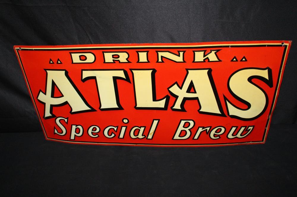 DRINK ATLAS SPECIAL BREW BEER SODA POP TIN SIGN