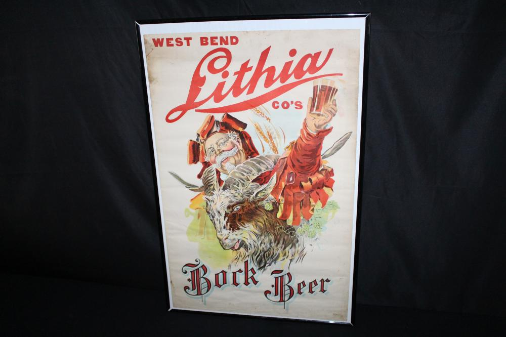 WEST BEND LITHIA BOCK BEER LITHO SIGN
