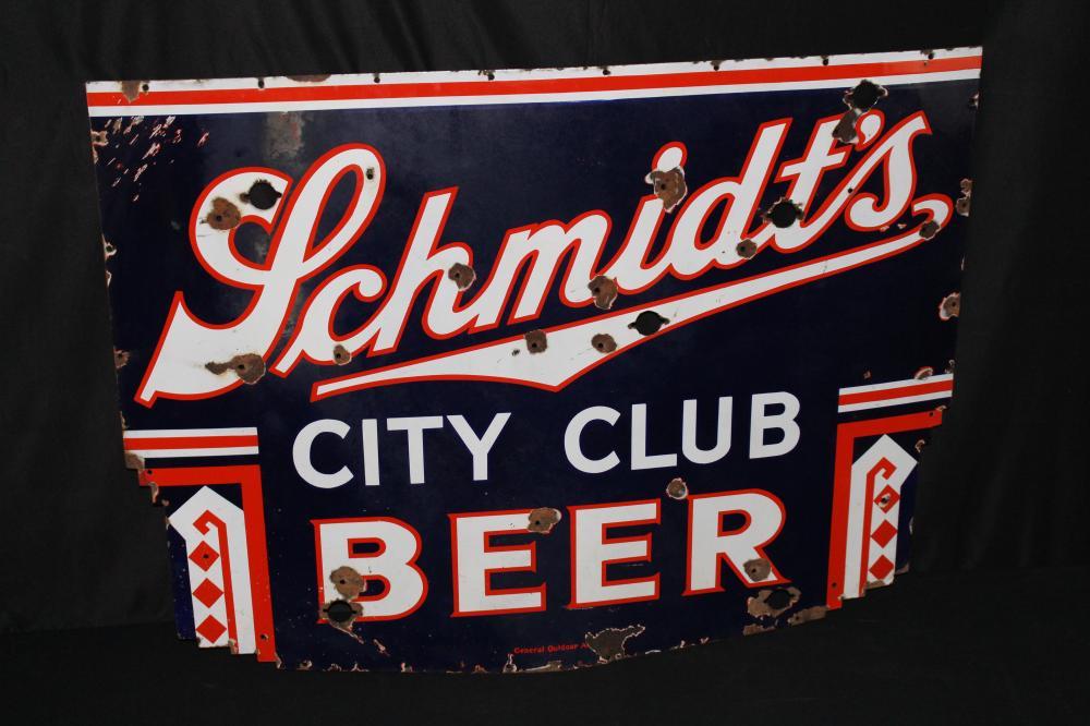 PORCELAIN SCHMIDTS CITY CLUB BEER NEON SIGN SKIN