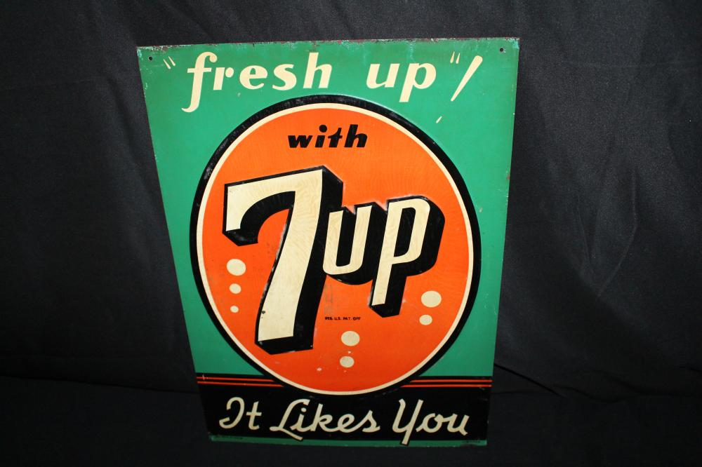 FRESH UP WITH SEVEN 7 UP SODA POP SIGN