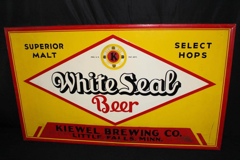 KIEWELS WHITE SEAL BEER LITTLE FALLS MN TIN SIGN