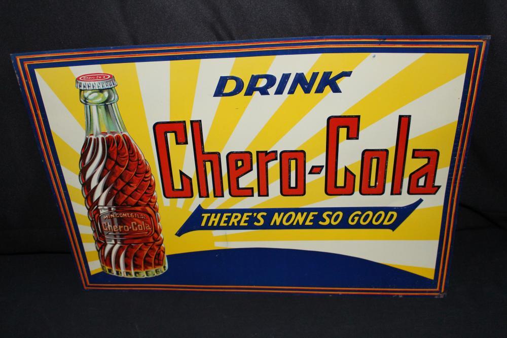 NOS DRINK CHERO-COLA SODA POP TIN SIGN