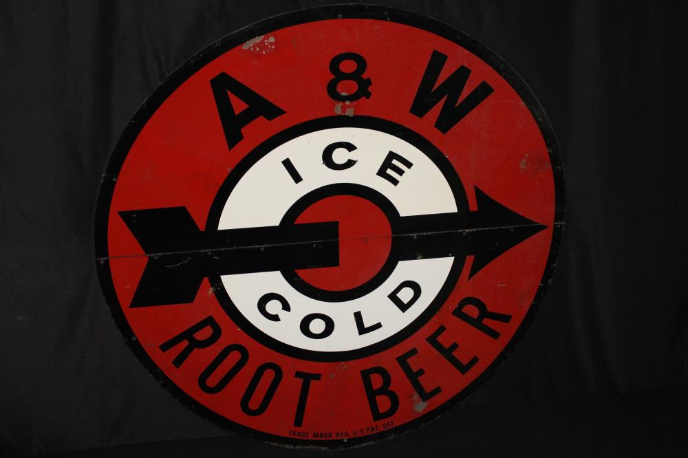"""LARGE A&W ICE COLD ROOT BEER TIN SIGN 60"""""""