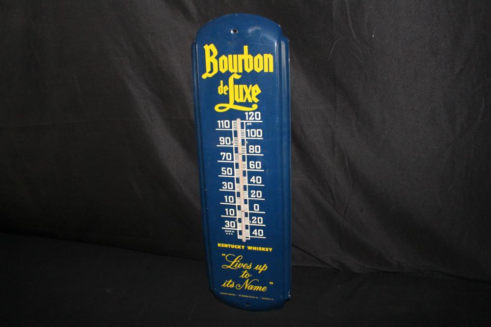 BOURBAN DE LUXE KENTUCKY WHISKEY THERMOMETER SIGN