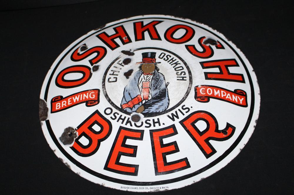 PORCELAIN CHIEF OSHKOSH BEER CORNER SIGN