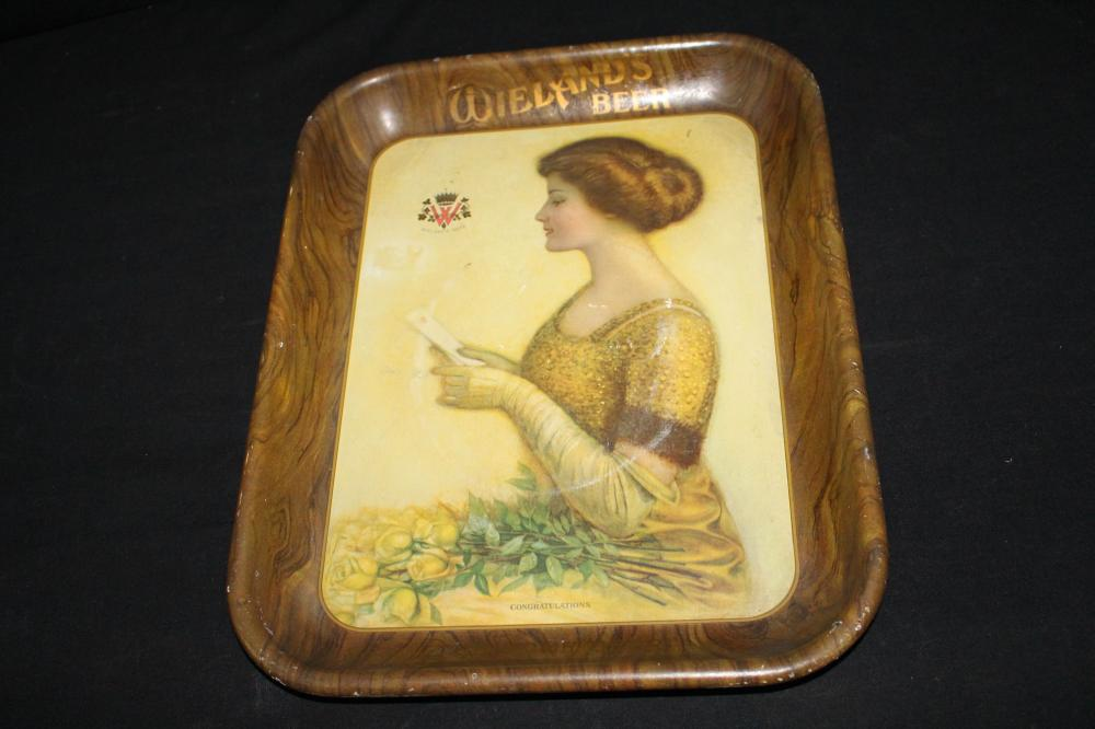 WIELANDS HOME BEER TRAY SIGN