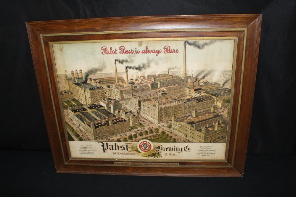PRE PRO PABST BEER BREWERY FACTORY LITHO SIGN