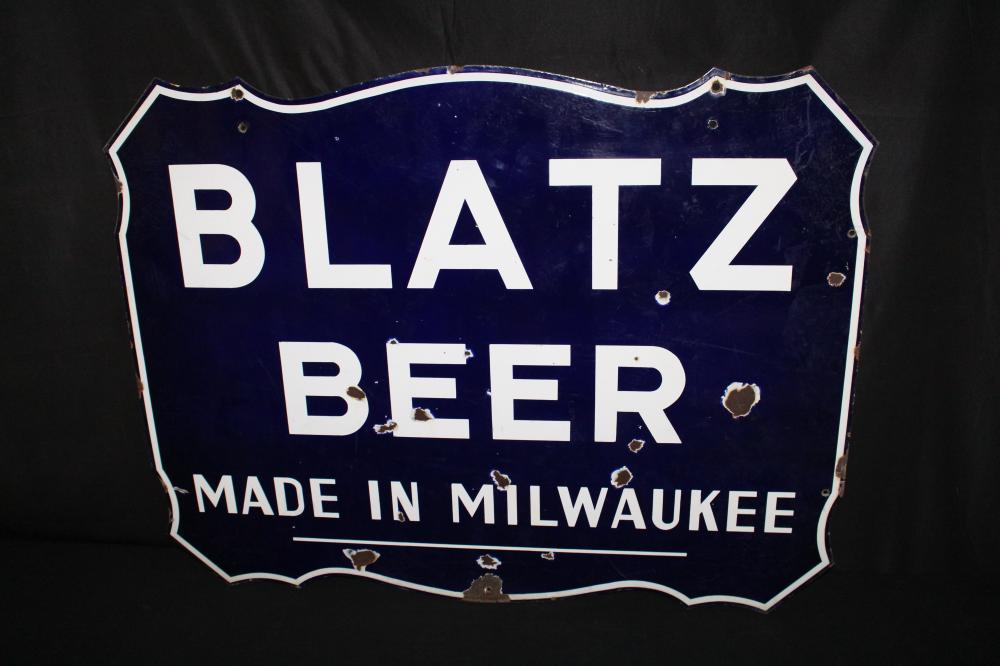 PORCELAIN BLATZ BEER MADE IN MILWAUKEE SIGN