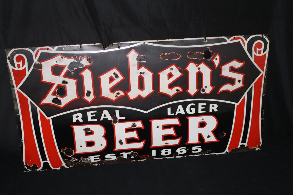 SIEBENS REAL LAGER BEER CHICAGO PORCELAIN SIGN