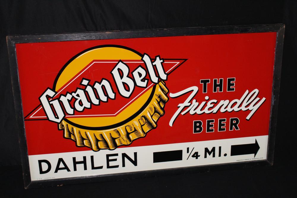GRAIN BELT THE FRIENDLY BEER TIN SIGN DAHLEN MN