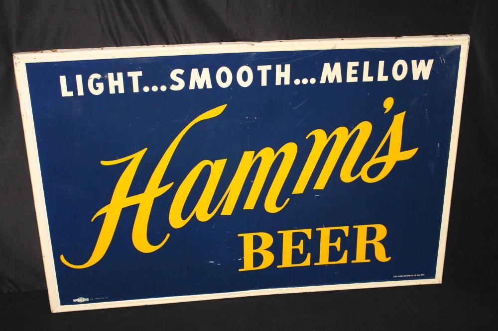 LARGE HAMMS SMOOTH MELLOW BEER TIN SIGN